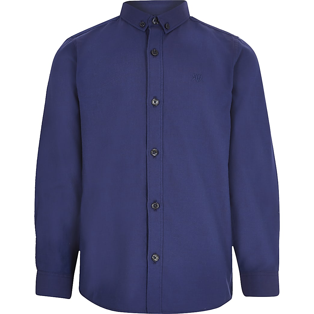Boys navy long sleeved twill shirt