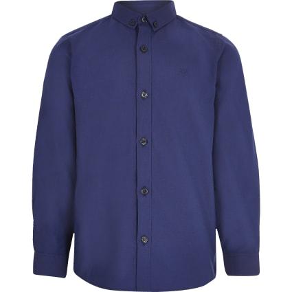 Boys navy long sleeved twill shirt