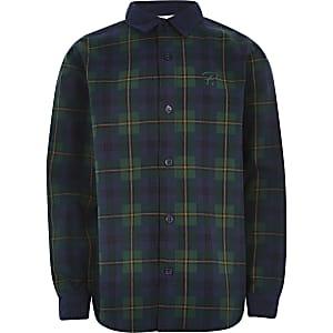 Chemise verte à carreaux avec col en velours côtelépour garçon