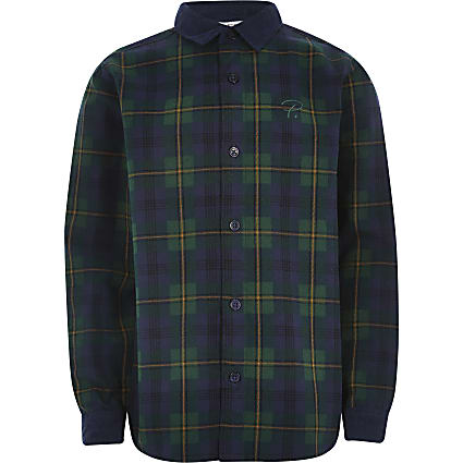 Boys green check cord collar shirt