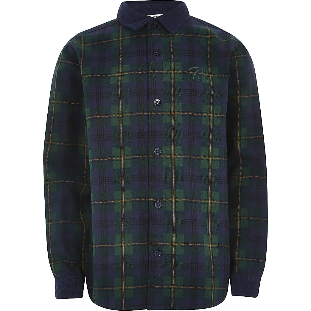 Boys green check cord collar shirt