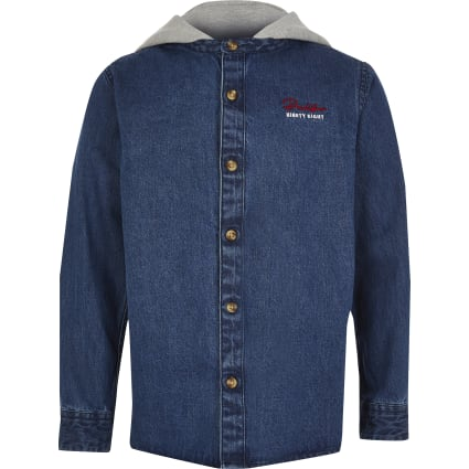 Boys blue Prolific hooded denim shirt