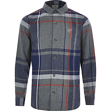 Boys grey check Prolific long sleeve shirt
