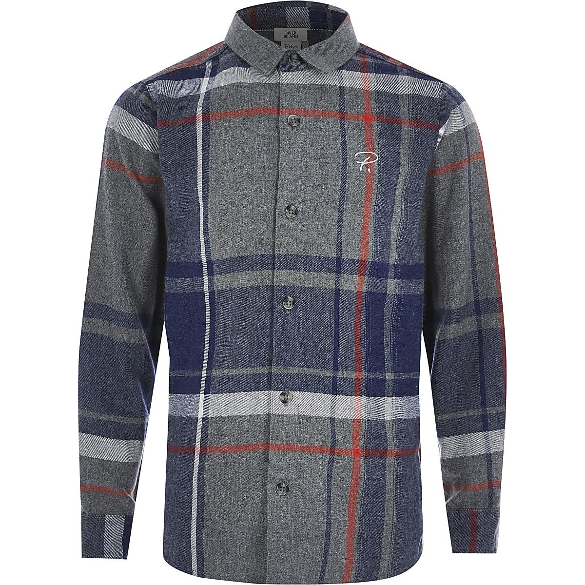 Boys grey check Prolific long sleeve shirt