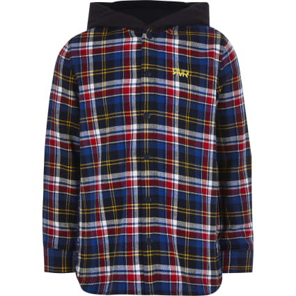 Boys blue check hooded shirt