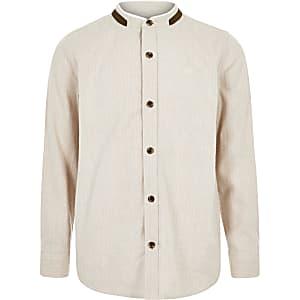 Kiezelkleurig overhemd met textuur zonder kraag voor jongens