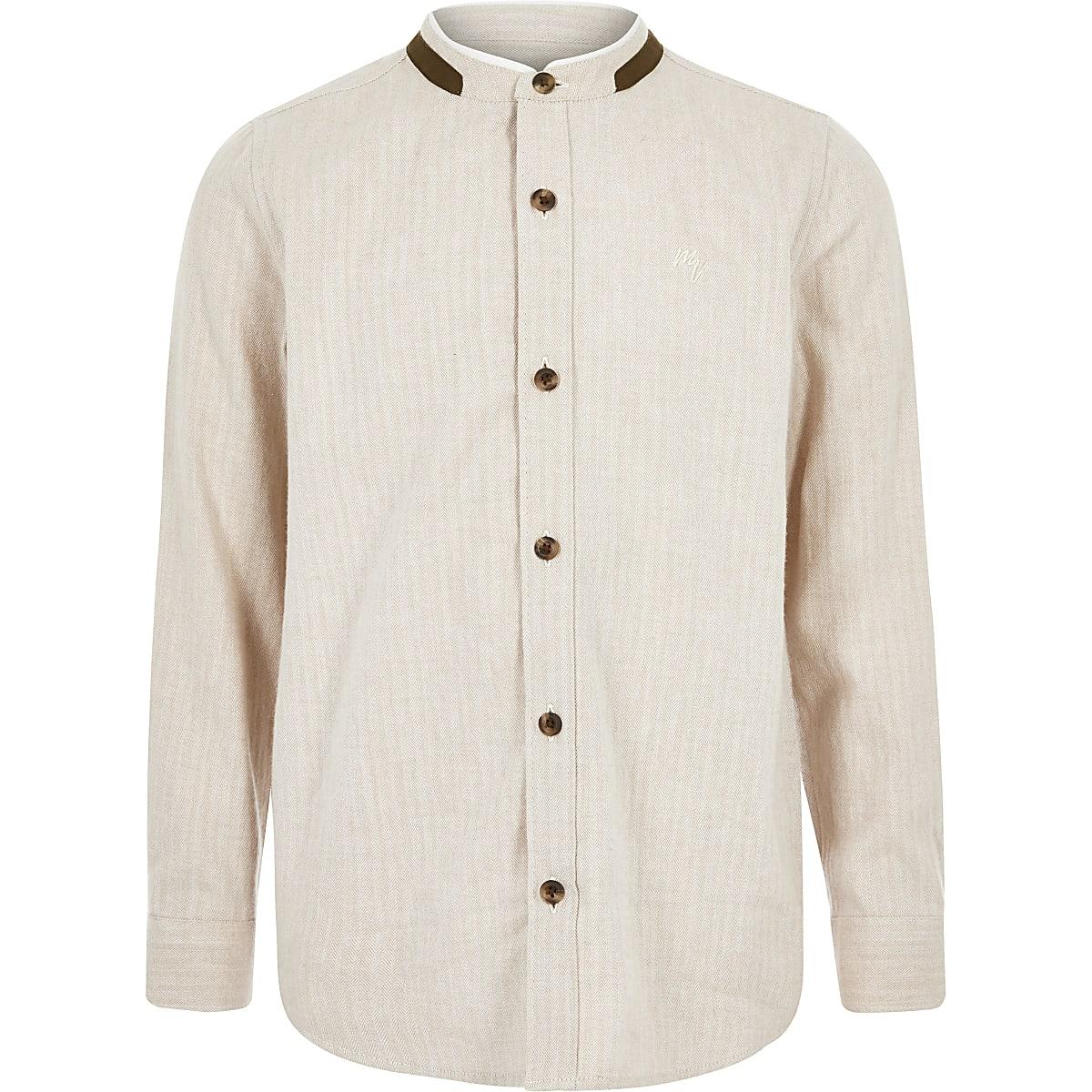 Boys stone textured grandad collar shirt
