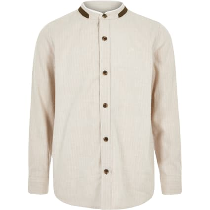 Boys stone textured grandad collar shirt