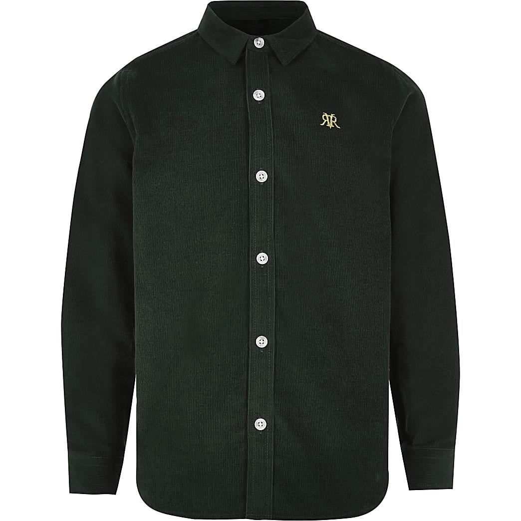Boys green cord long sleeve button-down shirt
