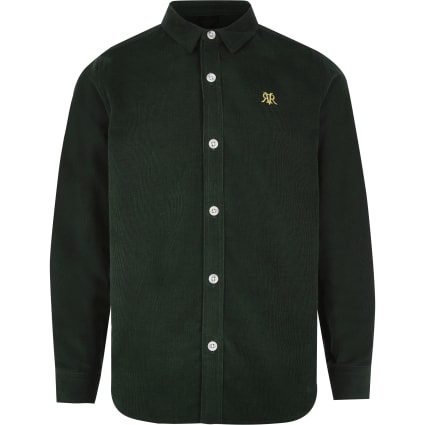 Boys green cord long sleeve button-down shirt