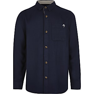 Marineblauw overhemd met borstzak en textuur voor jongens