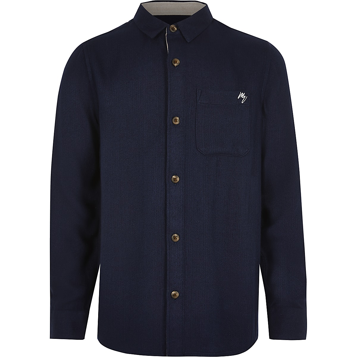 Boys navy textured chest pocket shirt