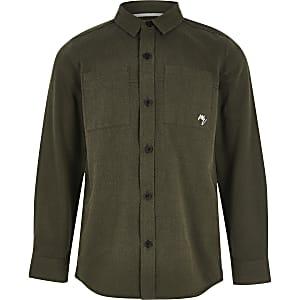 Kaki utility overhemd met lange mouwen voor jongens
