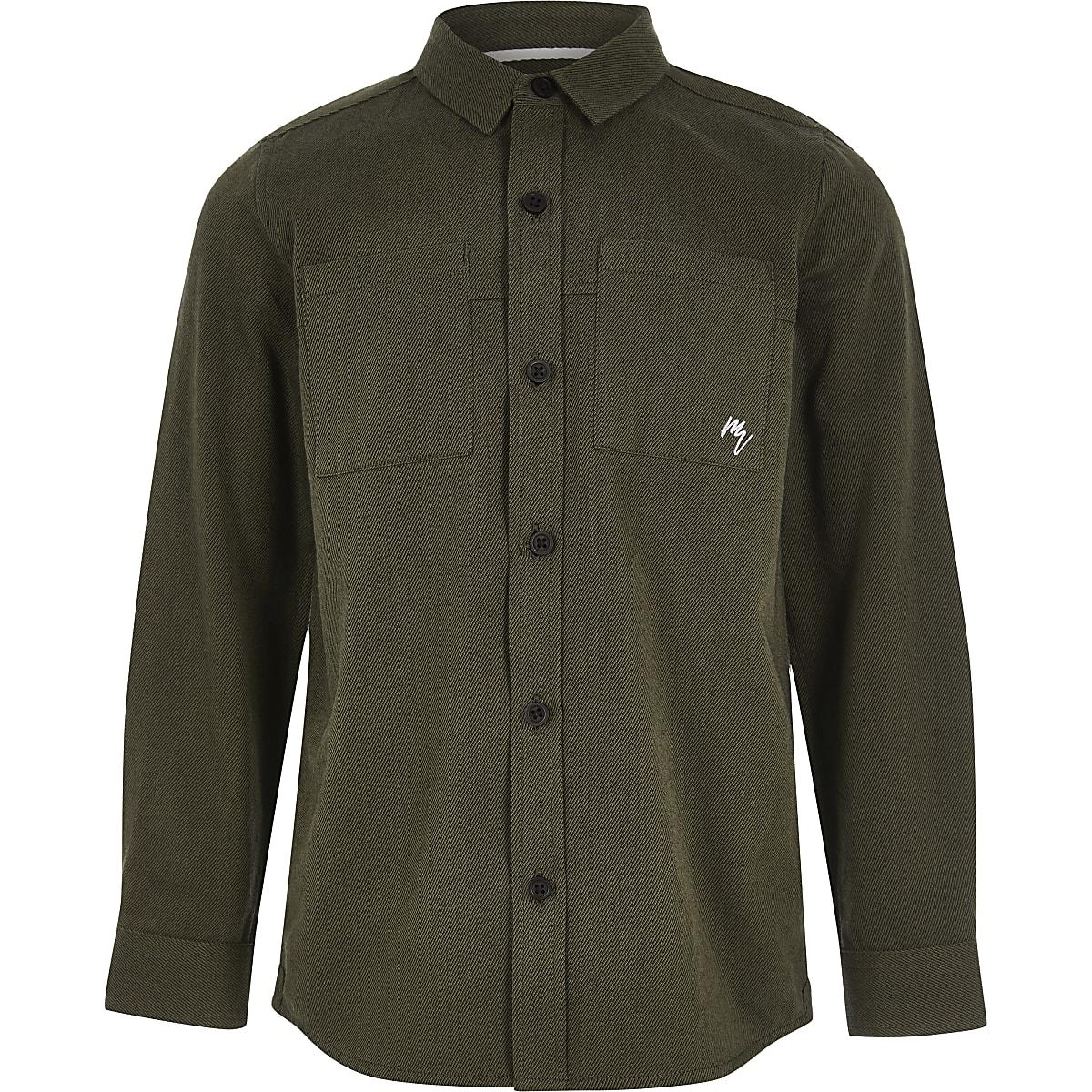 Boys khaki long sleeve utility shirt