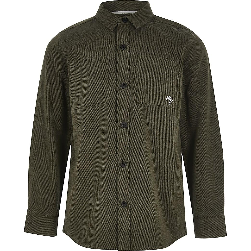 Langärmeliges Utility-Hemd in Khaki für Jungen