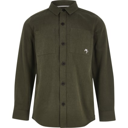 Boys khaki long sleeve utility shirt