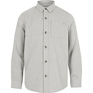 Grijs getextureerd overhemd met lange mouwen voor jongens