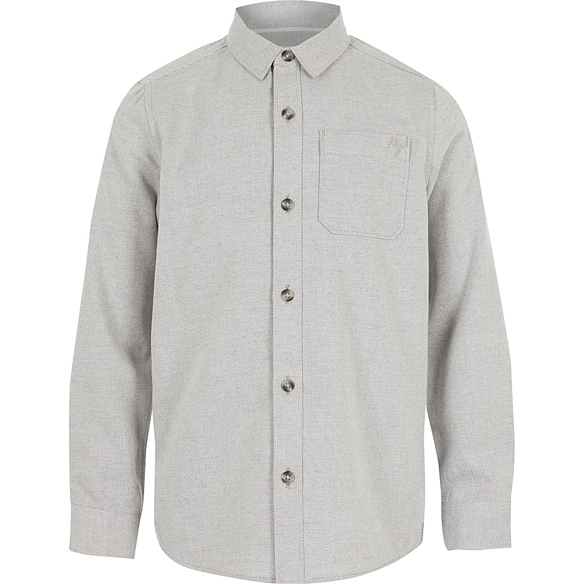 Boys grey long sleeve twill shirt