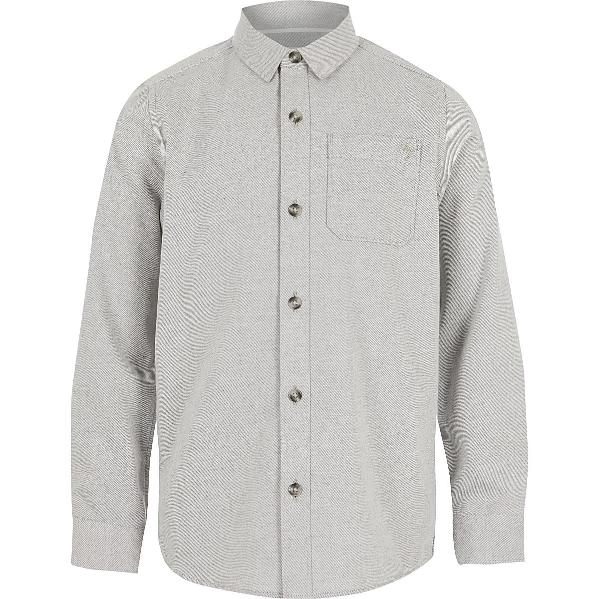 Chemise grise en sergéà manches longues pour garçon