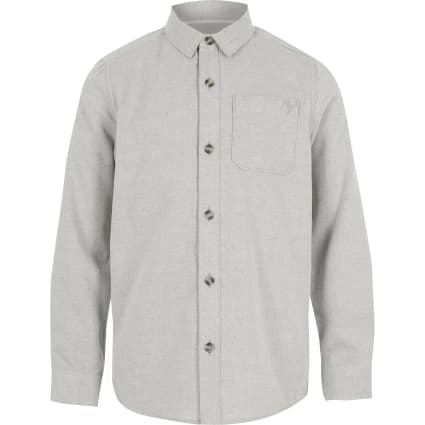 Boys grey textured long sleeve shirt