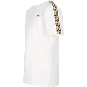 Boys white check tape T-shirt