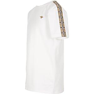 Wit geruit T-shirt met bies voor jongens