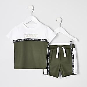 Ensemble avec short et t-shirt en maille kaki pour mini garçon