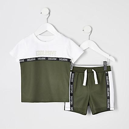 Mini boys khaki mesh T-shirt and short outfit