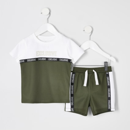 Mini boys khaki mesh T-shirt and short outfit