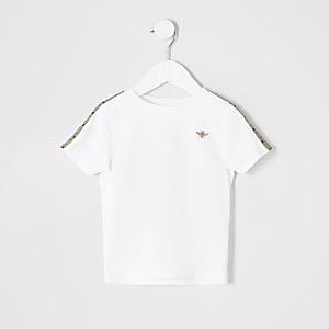 Mini - Wit geruit T-shirt met bies voor jongens