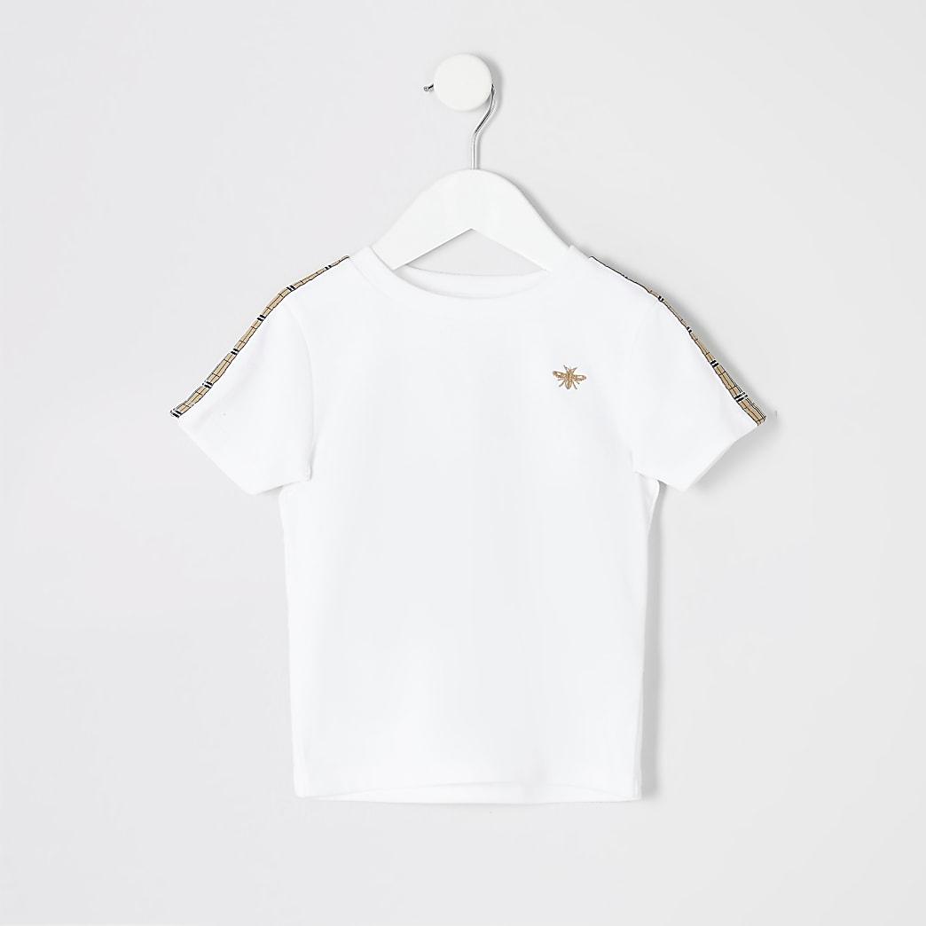 Mini boys white check tape T-shirt
