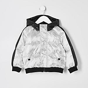 Mini - Zilverkleurig gewatteerd jack met capuchon voor jongens