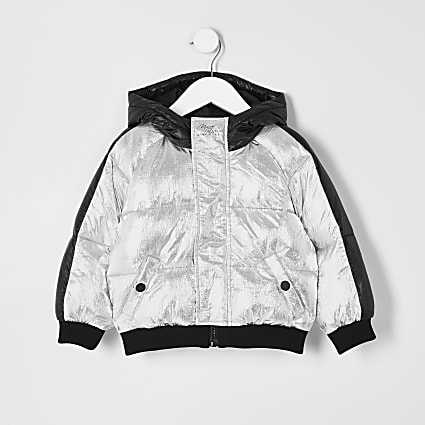 Mini boys silver hooded puffer jacket