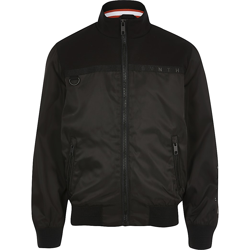 Boys black Svnth long sleeve bomber jacket