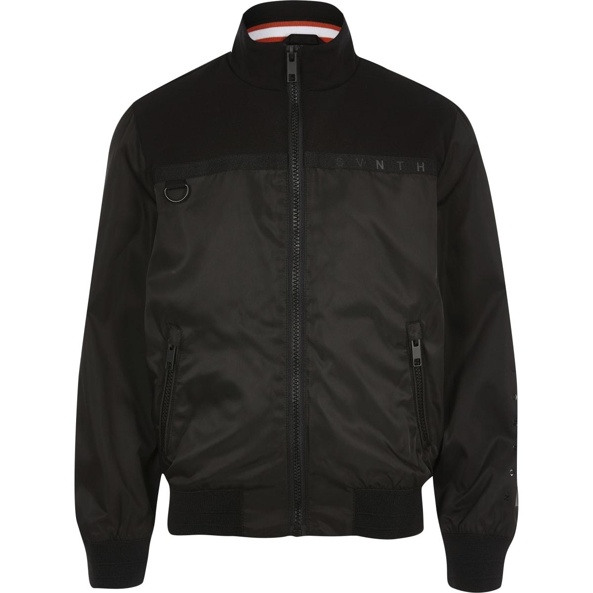 Boys black Svnth long sleeve jacket
