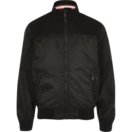 Boys black Svnth long sleeve bomber jacket