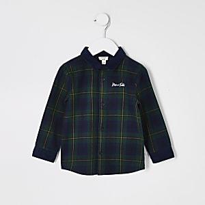 Mini - Groen geruit overhemd met corduroy kraag voor jongens