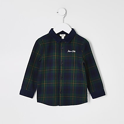 Mini boys green check cord collar shirt