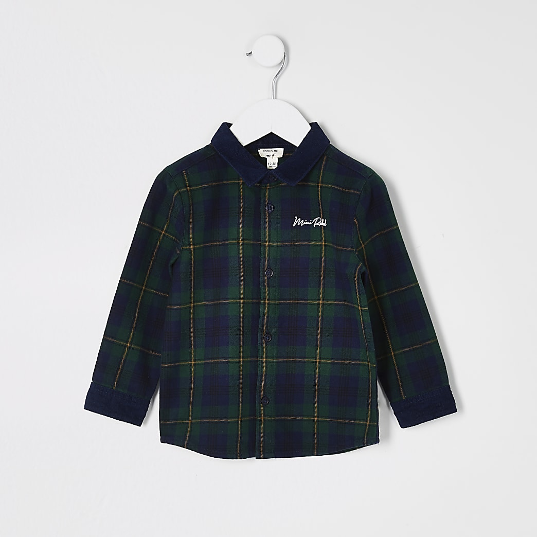 Mini boys green check cord collar shirt