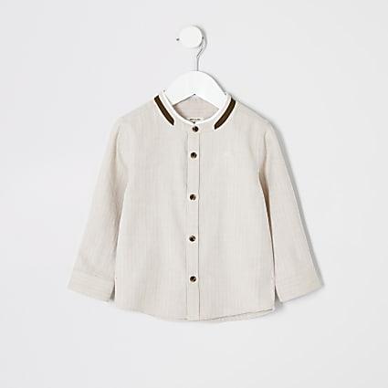 Mini boys stone textured grandad collar shirt