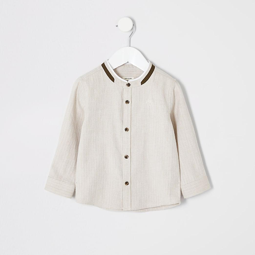 Mini - Kiezelkleurig overhemd met textuur zonder kraag voor jongens