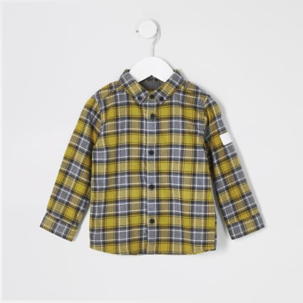 Mini boys yellow check long sleeve shirt
