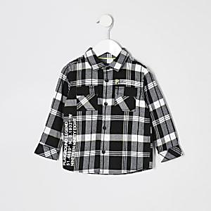Mini - Zwart geruit overhemd met print voor jongens