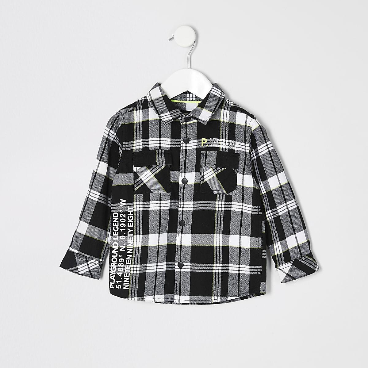 Mini boys black check printed shirt