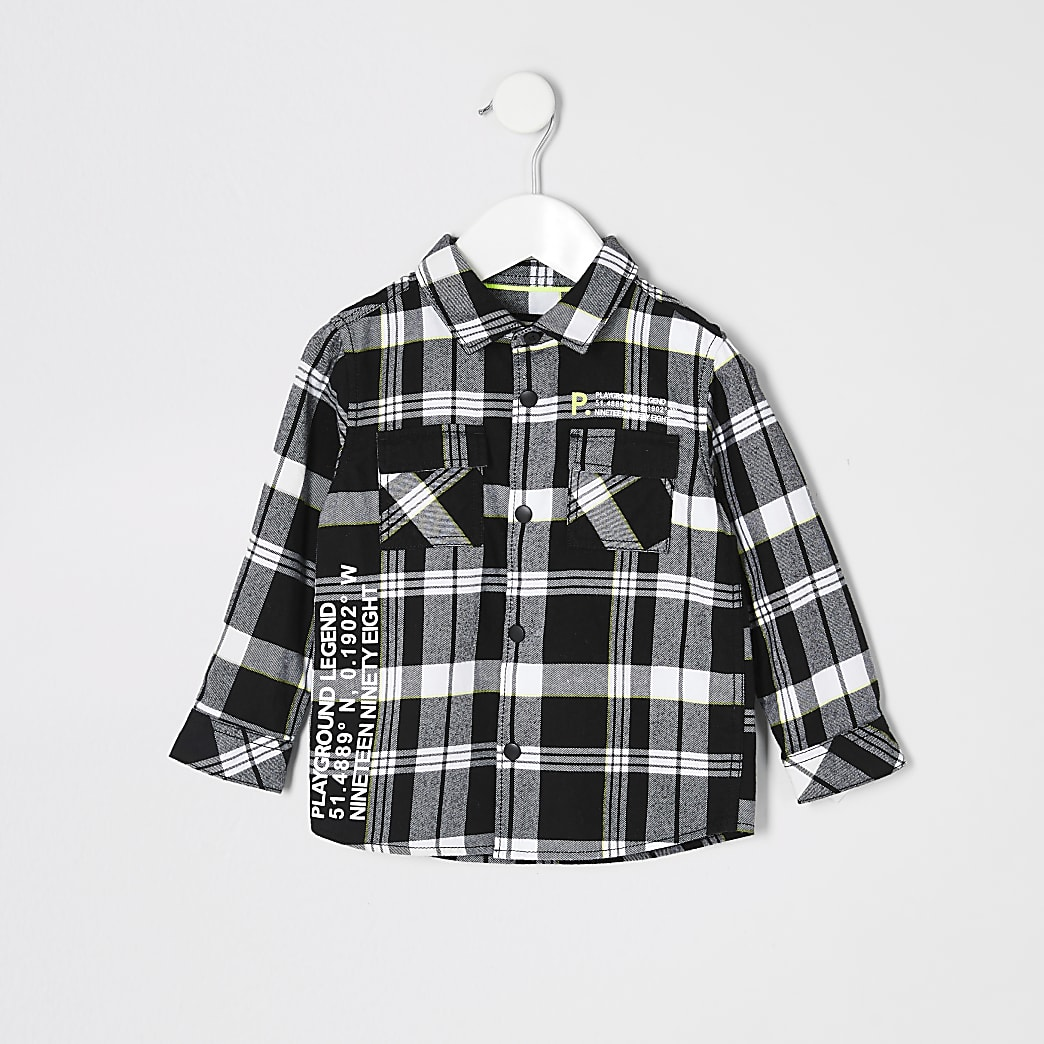 Mini boys black check printed shirt