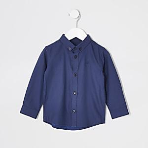 Mini - Marineblauw overhemd van twill-stofmet lange mouwen voor jongens