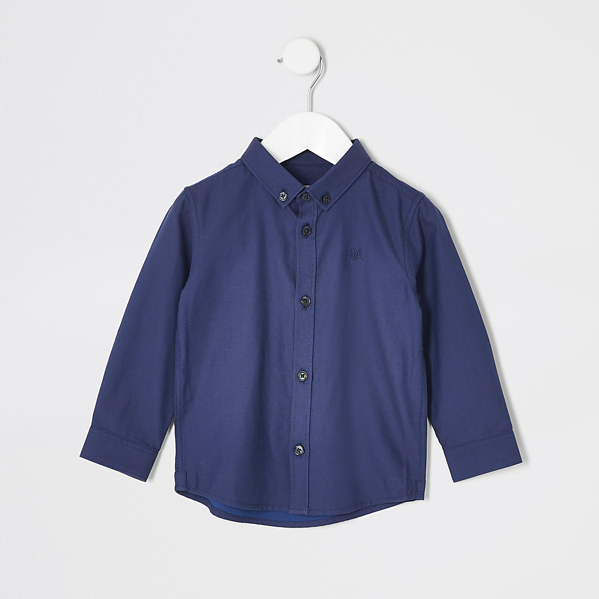 Mini boys navy long sleeved twill shirt