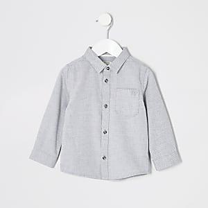 Mini - Grijs overhemd van twill-stofmet lange mouwen voor jongens