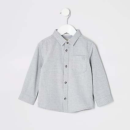 Mini boys grey long sleeved twill shirt