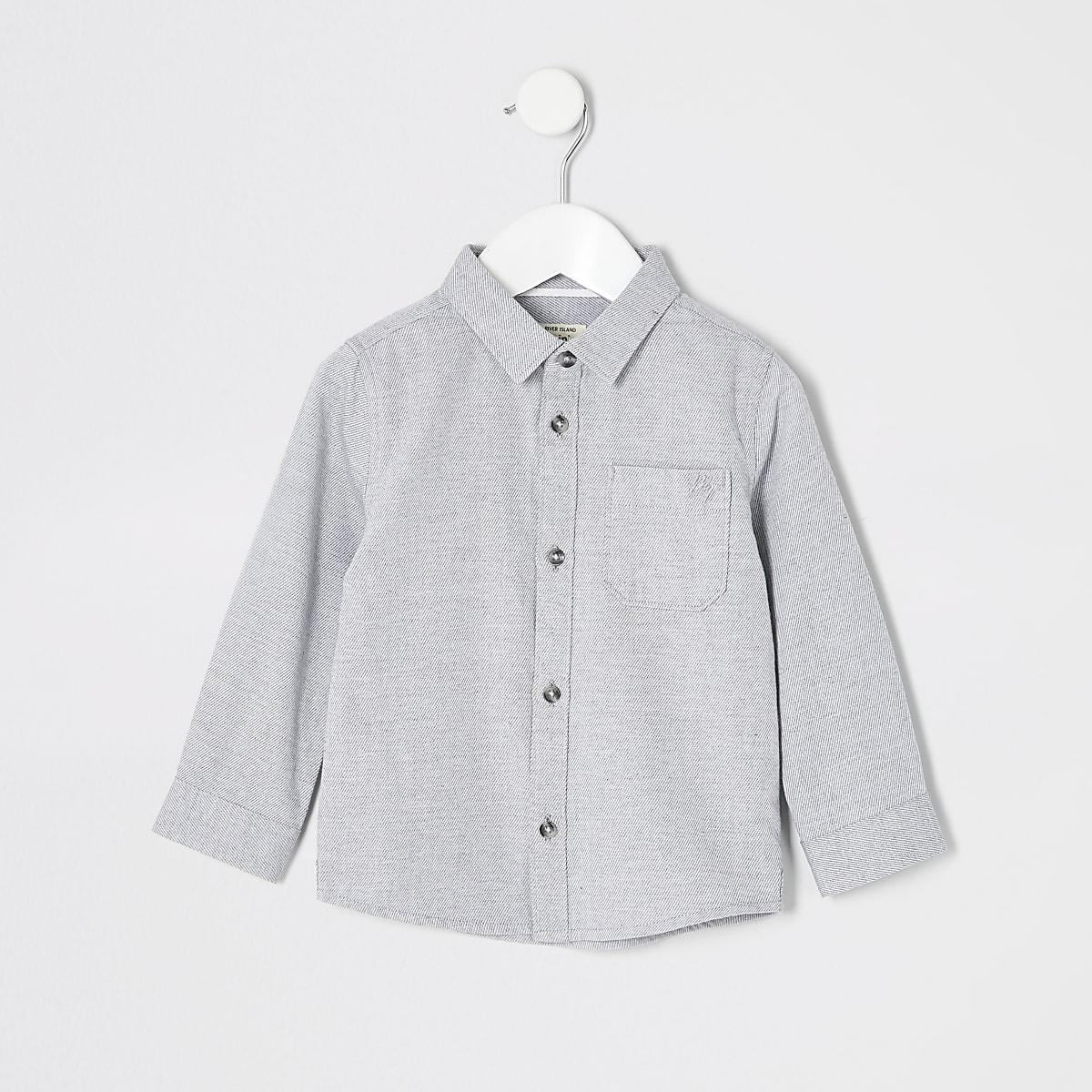 Mini boys grey long sleeved twill shirt